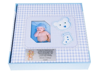 Album zdjęcia miś i skarpetka niebieski 10 x 15 prezent chrzest dedykacja