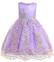 Sukienka dla dziewczynki fioletowa ze złotym haftem na tiulu