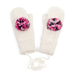 Rękawiczki z POMPONEM damskie białe - WHITE