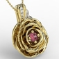 Wisiorek z żółtego i białego złota w kształcie róży z rubinem i diamentami apw-95zb - żółte i białe  rubin