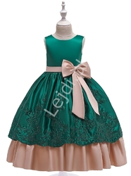 Zielona sukienka dla dziewczynki z beżowymi kokardkami 220