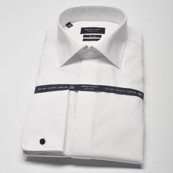 Elegancka biała koszula męska do muchy, mankiety na spinki, kryta listwa. 42
