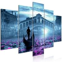 Obraz - magiczna wenecja 5-częściowy szeroki niebieski