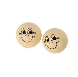 Drewniana buzia z uśmiechem 22 mm - zestaw 10 szt