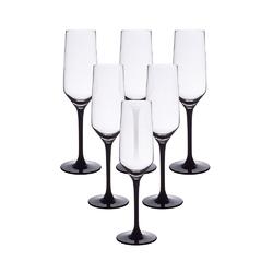 Kieliszki do szampana i wina musującego altom design rubin black 220 ml, komplet 6 szt.