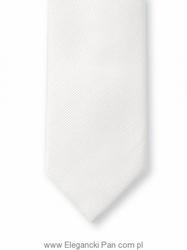 Biały krawat z jedwabiu w delikatny skośny splot - wąski 6,5cm