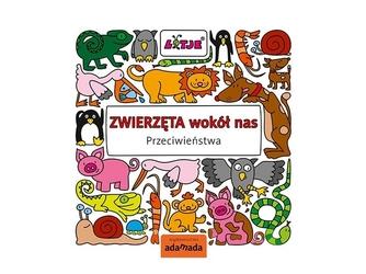 Zwierzęta wokół nas przeciwieństwa edukacyjna książka dla dzieci