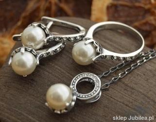 Srebrny komplet perla z kryszt swarovskiego alli