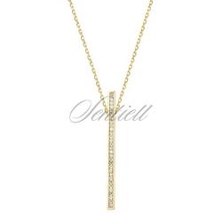 Srebrny naszyjnik pr.925 prostokąt z cyrkoniami, pozłacany - żółte złoto