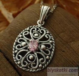 Marge - srebrny wisior z różowym kryształem