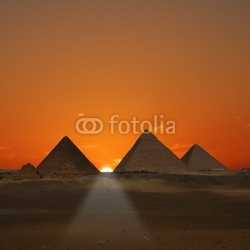 Obraz na płótnie canvas dwuczęściowy dyptyk wschód słońca piramid giza, egipt
