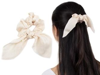 Gumka do włosów ecru apaszka scrunchies frotka