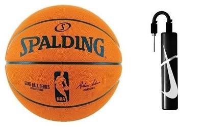 Piłka do koszykówki nba spalding ball series replica + pompka nike essential