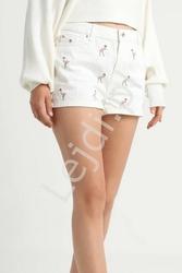 Jeansowe białe spodenki z flamingami only