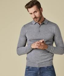 Elegancki szary sweter polo z długimi rękawami  l