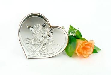 Obrazek aniołki pamiatka chrztu świ. serce dedykacja