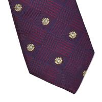 Bordowy krawat w kratę i żółte kwiatki