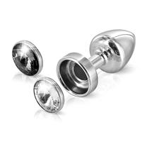 Zdobiony plug analny - diogol anni butt plug magnet clear  black 25 mm
