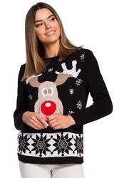 Czarny świąteczny sweter z reniferem