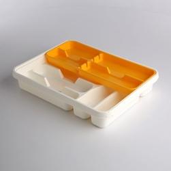 Wkład na sztućce przegródki do szuflady  organizer kuchenny tontarelli 39,5 cm, biało-żółty