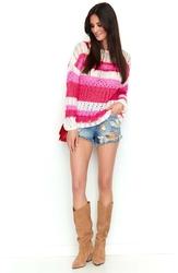 Biało malinowo różowy ażurowy sweter w kolorowe pasy