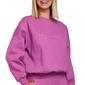 Oversizowa bluza dresowa z haftem - lawendowa