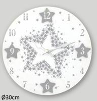 Drewniany zegar ścienny gwiazdki 30cm biały