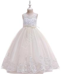 Długa luksusowa sukienka dziecięca z trenem w kolorze szampana 231
