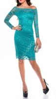 Koronkowa sukienka z dekoltem carmen, szmaragdowa 351 -4