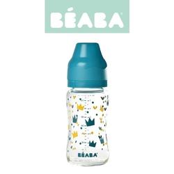 Butelka szklana szerokootworowa beaba 240ml - crown blue