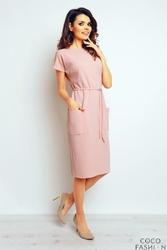 Różowa Sukienka Midi z Kieszeniami