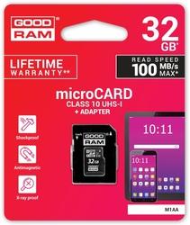 Karta pamięci microsd goodram uhs1 cl10 32gb + adapter 100mb - szybka dostawa lub możliwość odbioru w 39 miastach