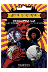 Jimi Hendrix - zestaw 4 przypinek