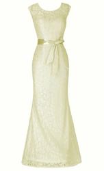 Koronkowa długa suknia wieczorowa w wyjątkowym waniliowym kolorze, 203
