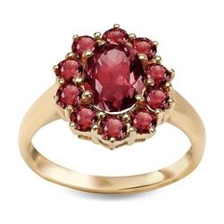 Staviori pierścionek z żółtego złota 0,333 z jedenastoma kamieniami granatu