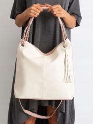 Torebka damska shopper bag worek 0006 ecru - ecru