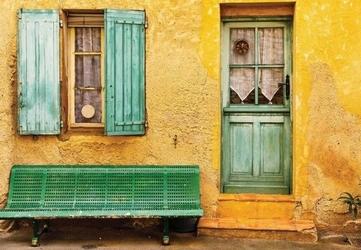 Żółty domek - fototapeta