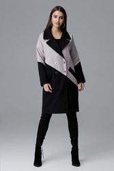 Czarno beżowy dwukolorowy płaszcz dwurzędowy