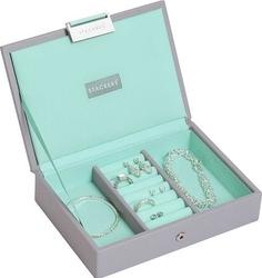 Szkatułka na biżuterię stackers mini szaro-miętowa z pokrywką