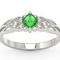 Pierścionek z białego złota z zielonym topazem swarovski i diamentami bp-86b - białe  topaz green