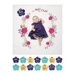 Zestaw lulujo: kocyk-otulacz 100x100cm + karty do zdjęć - bright floral