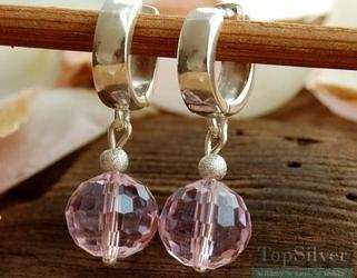 Disco - srebrne kolczyki z różowym kryształem