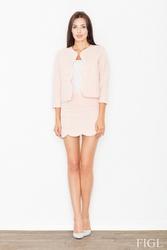 Różowy komplet mini spódnica + krótka marynarka