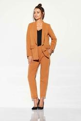 Kamelowe Tkaninowe Spodnie Basic o Zwężanej Nogawce