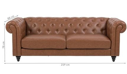 Sofa santoz trzyosobowa ekoskóra brązowa