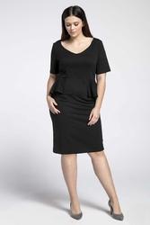 Czarna klasyczna sukienka z półbaskinką plus size