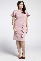 Jasnoróżowa elegancka sukienka ze zwiewnym rękawem plus size