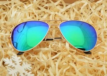 Okulary pilotki lustrzanki zielone przeciwsłoneczne 474-1
