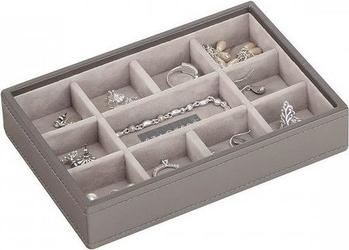 Szkatułka na biżuterię stackers 11 komorowa mini szaro-beżowa