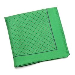 Jedwabna zielona poszetka VAN THORN w granatowy wzór